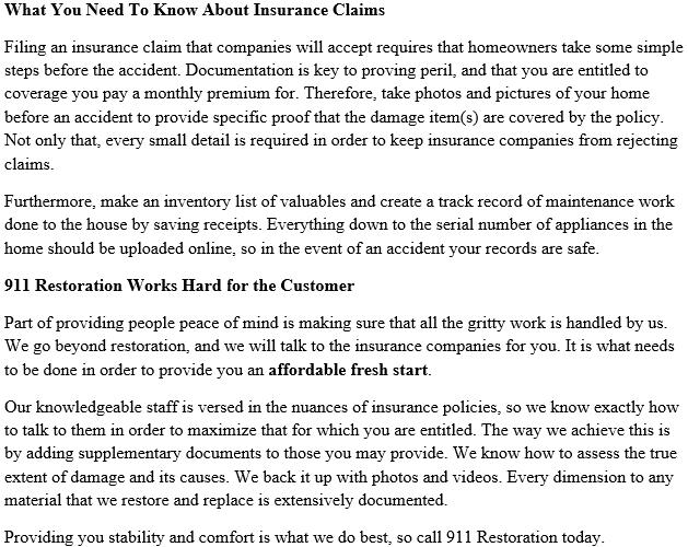Insurance Policy | 911 Restoration Portland