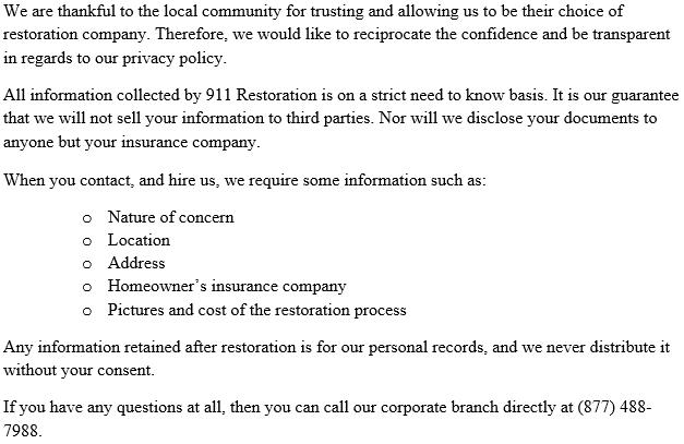 911 Restoration Portland | Privacy Policy