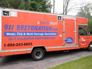 Water Damage Beavercreek Restoration Box Truck Parked At Residential Job Location